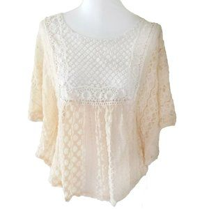 🌹 Blu Planet Ivory Lace Crocheted Poncho Blouse M